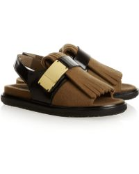Marni Glossedleather and Woolfelt Sandals - Lyst