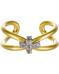 Giles & Brother Skinny X Knot Crystal Pave Ring gold - Lyst