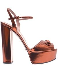Gucci Claudine Metallic Leather Sandals - Lyst
