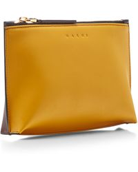 Marni Two-tone Leather Pouchette in Yellow - Lyst