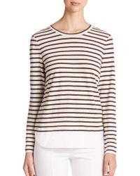 Tory Burch Linen & Poplin-Hem Striped Pullover - Lyst