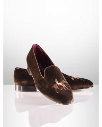 Ralph Lauren Collis Velvet Horse Slipper - Lyst