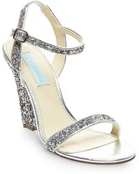 Betsey Johnson Darci Satin And Glitter Wedge Sandals silver - Lyst
