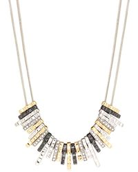 Nine West - Tri Tone Frontal Necklace - Lyst