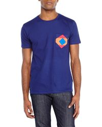 Wesc Navy Color Block Patch Pocket Tee - Lyst