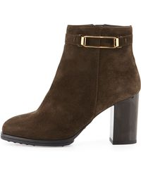 Tod's Suede Ankle Bootie - Lyst