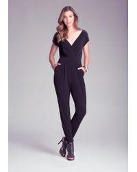 Bebe Black Baylee Jumpsuit - Lyst
