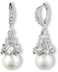 Givenchy Crystal And Glass Pearl Drop Earrings silver - Lyst