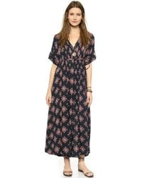Free People Printed Oasis Maxi Dress - Navy Combo - Lyst