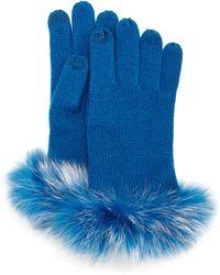 Sofia Cashmere - Cashmere Tech Gloves W/fox Fur Cuff - Lyst