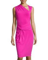 Halston Heritage Ruched Asymmetricneck Jersey Dress - Lyst