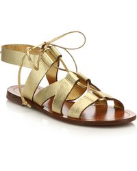 Kate Spade | Suno Metallic Leather Lace-up Sandals | Lyst