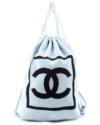 Chanel Pre-Owned Blue Sportline Knit Backpack - Lyst