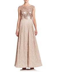Kay Unger | Sequined Jacquard Ball Gown | Lyst