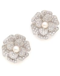 Kenneth Jay Lane Pave Flower Earrings  - Lyst
