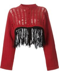 Jean Paul Gaultier Fringed Cropped Cardigan - Lyst