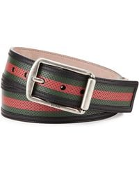 Gucci Leather Mesh Belt - Lyst