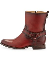 Frye Melissa Short Harness Zip Boot - Lyst