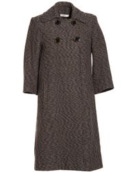 Celine Brown Coat - Lyst