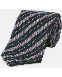 Turnbull & Asser | Slim Informalist Multi Stripe Evergeen And Lilac Cashmere Blend Tie | Lyst