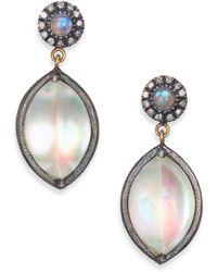 Rene Escobar - Mother-of-pearl, Labradorite, Diamond, 18k Yellow Gold & Sterling Silver Drop Earrings - Lyst