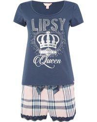 Lipsy - Queen Tshirt & Check Short Pj Set - Lyst