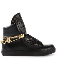 Versus  Chain Detail Studded Hi-Top Sneakers - Lyst
