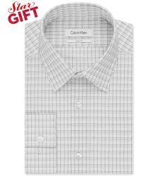 Calvin Klein Slim-Fit Black-And-White Check Dress Shirt - Lyst
