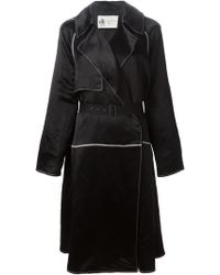 Lanvin Satin Effect Trench Coat black - Lyst