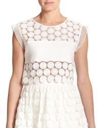 Alexis Stellan Floral-Embroidered Cropped Top - Lyst