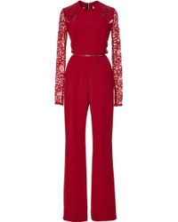 Elie Saab Crepe Cady and Lace Jumpsuit - Lyst