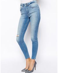 Asos Ridley High Waist Ultra Skinny Ankle Grazer Jeans in Blake Light Wash with Ripped Knee - Lyst