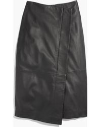 Madewell Leather Wrap Midi Skirt - Lyst
