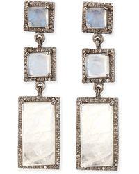 Siena Jewelry - Moonstone Diamond Drop Earrings - Lyst