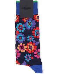 Duchamp Cotton Floral Socks Navy - Lyst
