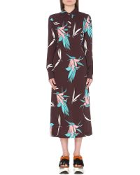 Marni Floral-Print Crepe Summer Dress - Lyst