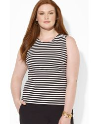 Ralph Lauren Lauren Plus Sleeveless Stripe Knit Top - Lyst