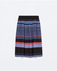 Zara Striped Full Midi Skirt - Lyst