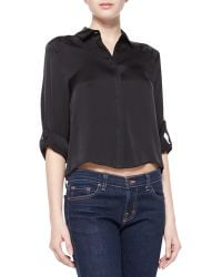 Alice + Olivia Sharon Cropped Button-down Blouse - Lyst