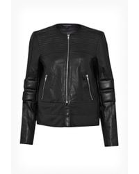 French Connection Jetson Leather Biker Jacket - Lyst