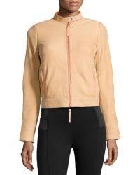 L.a.m.b. Leather Contrast-trim Jacket - Lyst