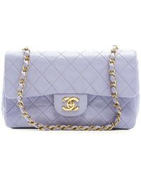 Chanel Pre-Owned Lavender Small Double Flap Bag - Lyst