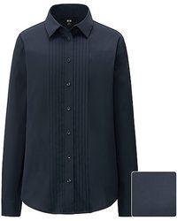 Uniqlo Supima Cotton Stretch Pin Tuck Long Sleeve Shirt - Lyst