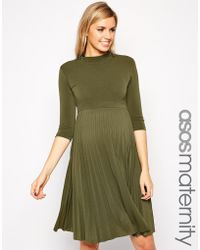 Asos Maternity Skater Dress With Pleated Skirt And 3/4 Sleeve - Lyst