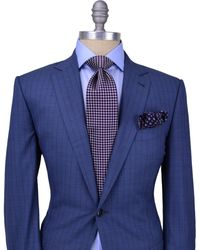 Ermenegildo Zegna Blue with Bordeaux Stripe Suit - Lyst