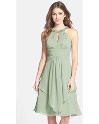 Eliza J Embellished Neck Layered Chiffon Dress - Lyst