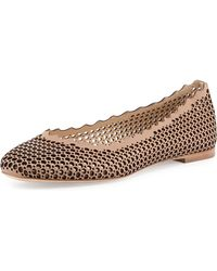 Chloé Perforated Leather Ballerina Flat - Lyst