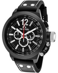 Tw Steel Mens Ceo Canteen Chronograph Black Dial Black Leather - Lyst