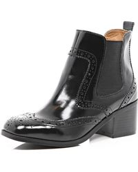 River Island Black Square Toe Chelsea Boot - Lyst