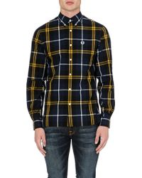 Fred Perry Checked Cotton Shirt Dark Carbon - Lyst